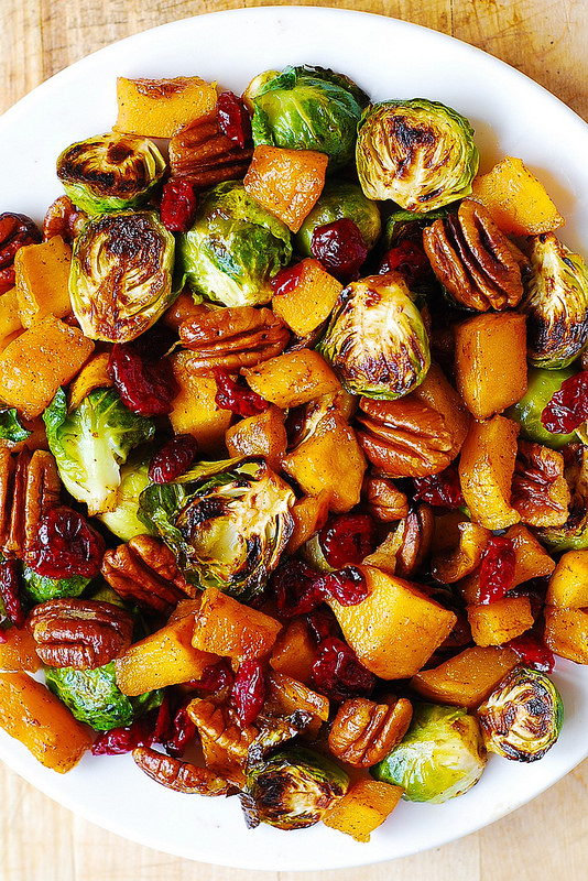 roasted-brussels-sprouts-cinnamon-butternut-squash-pecans-and-cranberries