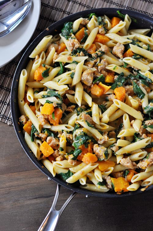 skillet-butternut-squash-sausage-and-penne-pasta
