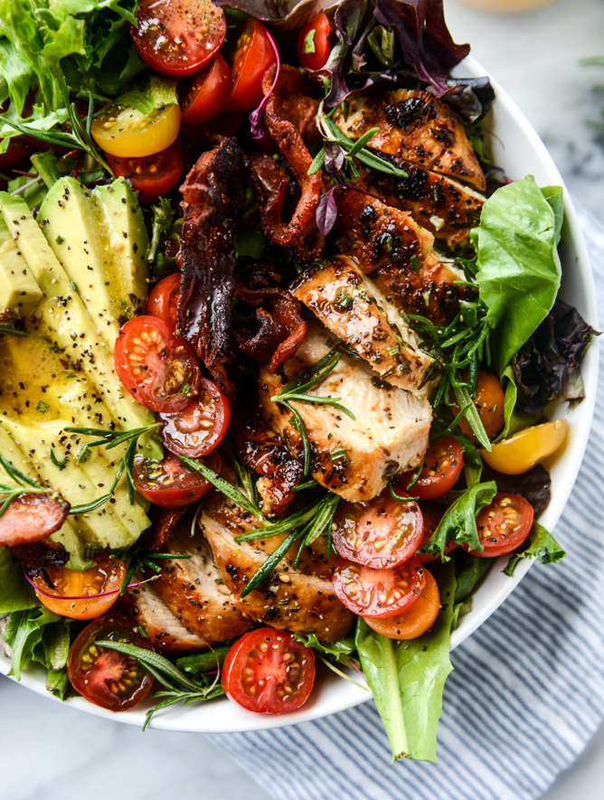 Rosemary Chicken Bacon and Avocado Salad